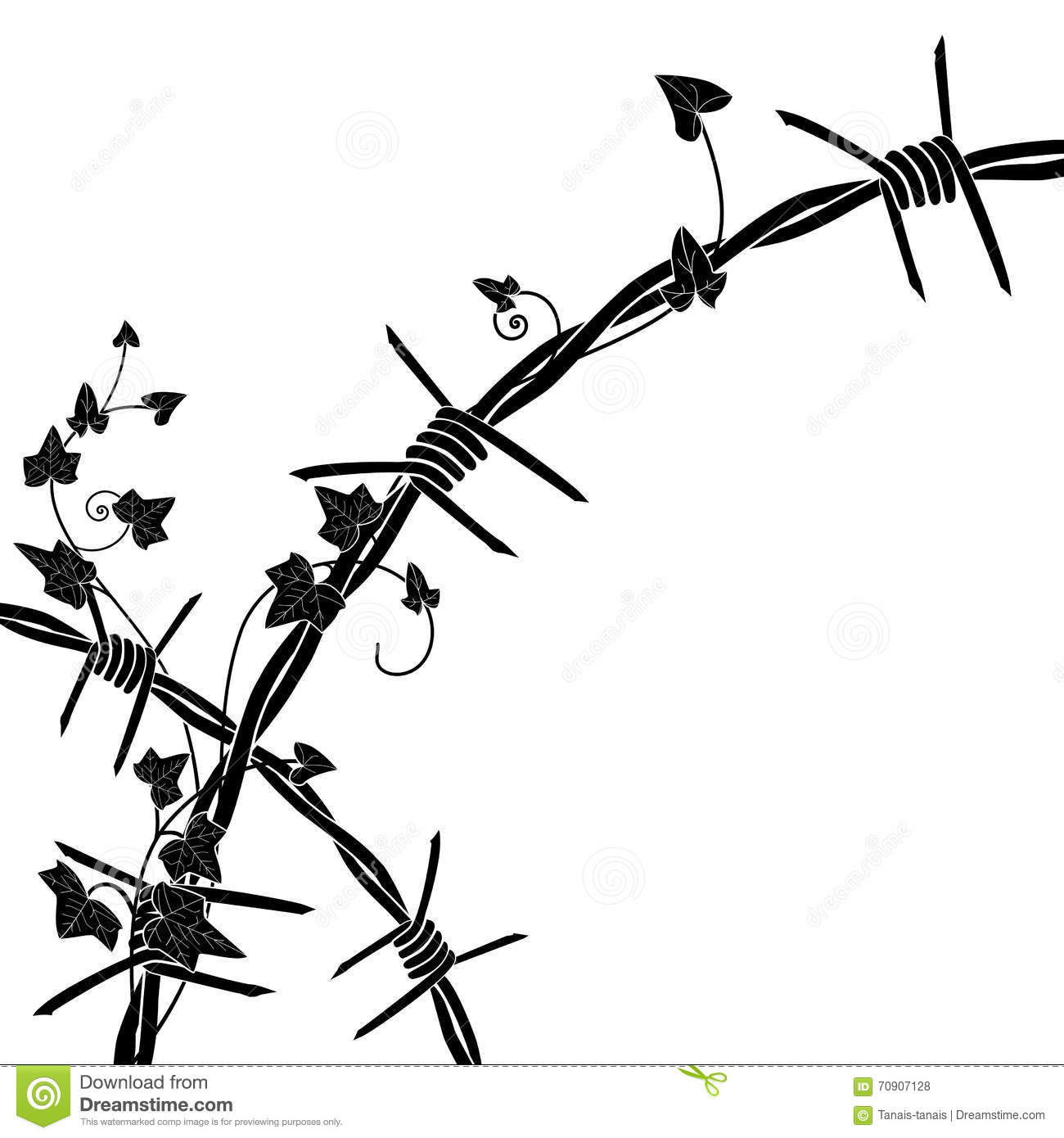 Ivy With Barbed Wire Stock Vector