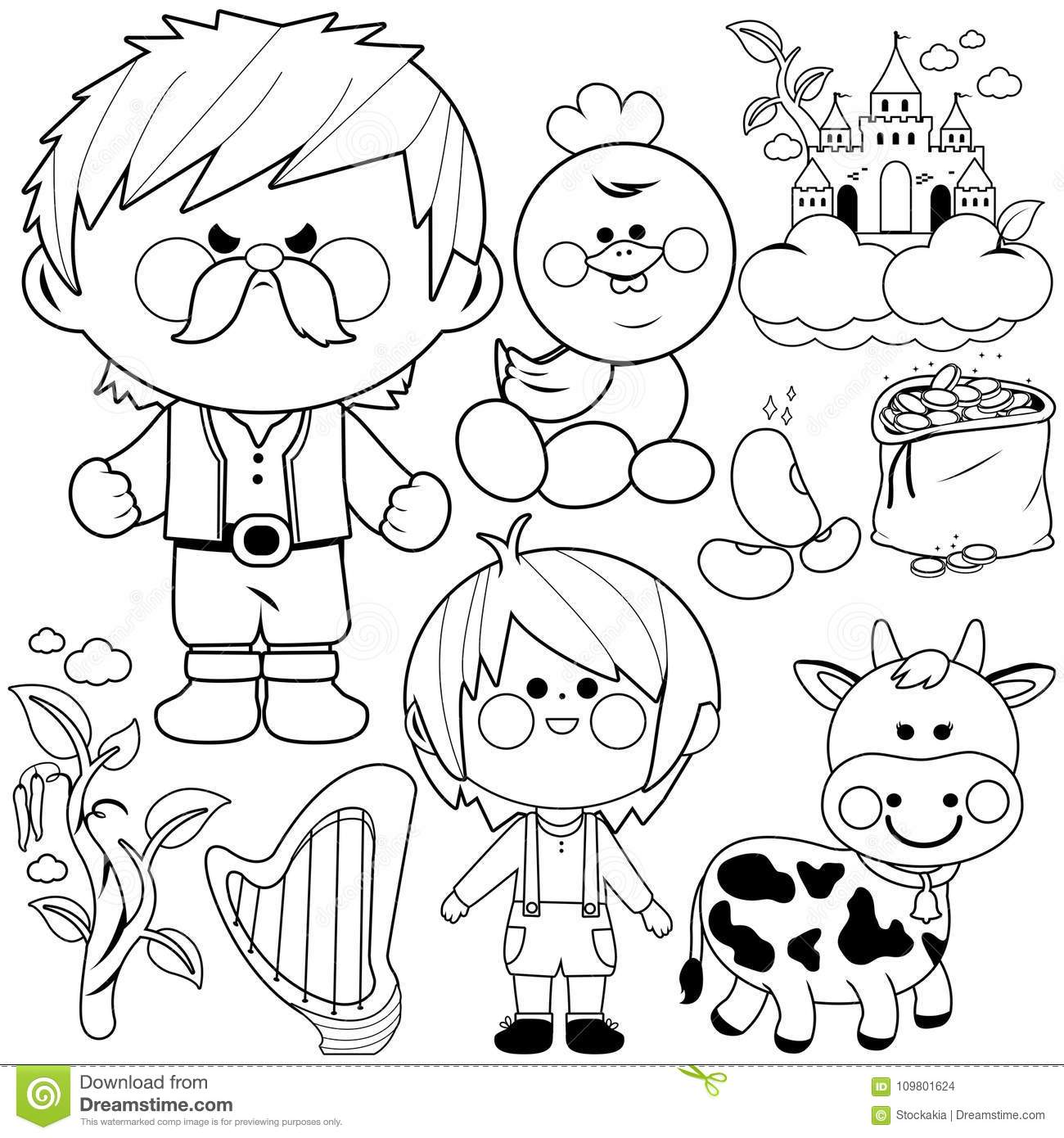 Jack And The Magic Beanstalk Fairytale Vector Collection