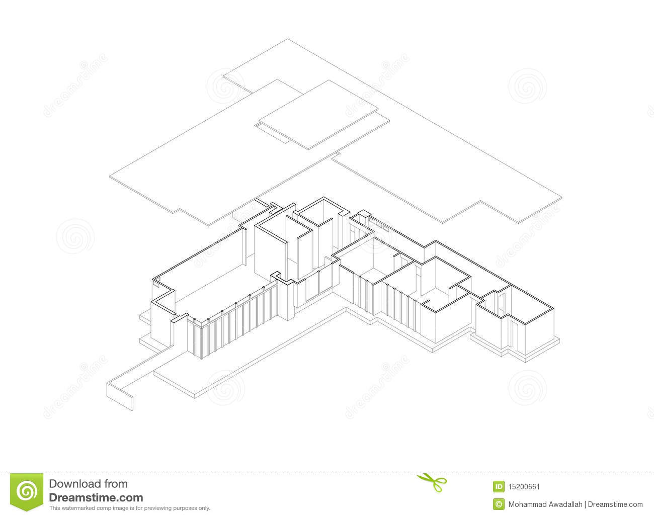 Jacobs House Exploded Isometric Drawing Stock Image