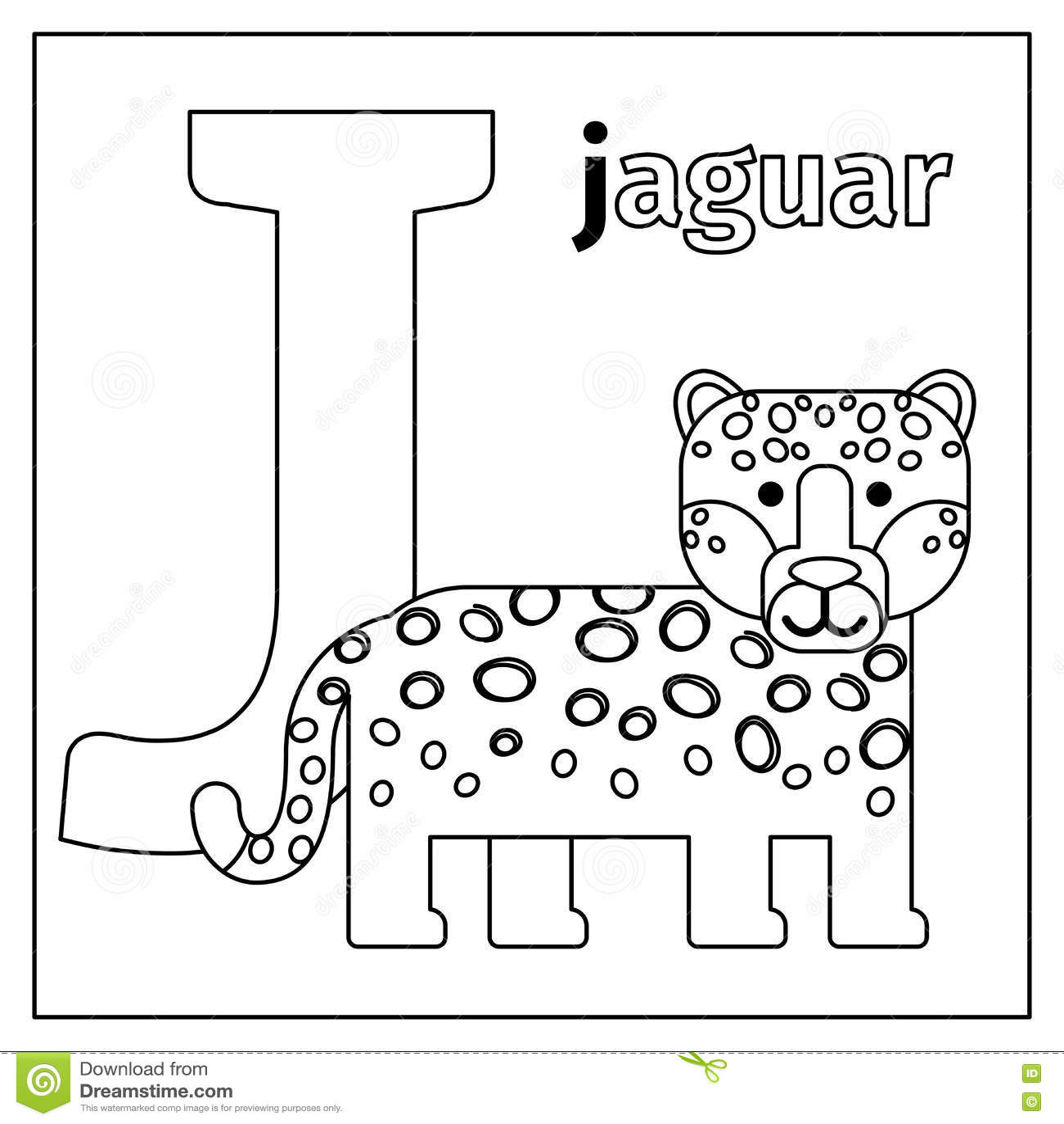 Jaguar Letter J Coloring Page Stock Vector