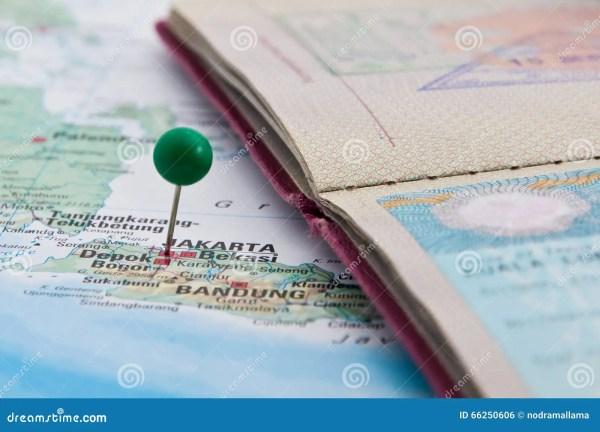 Jakarta, Java, Indonesia, GreenPin And Passport, Close-Up ...