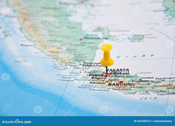 Jakarta, Java, Indonesia, Yellow Pin, Close-Up Of Map ...