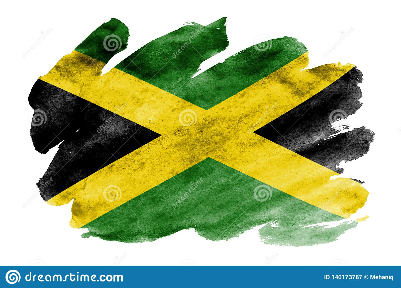 Jamaica Flag Is Depicted In Liquid Watercolor Style