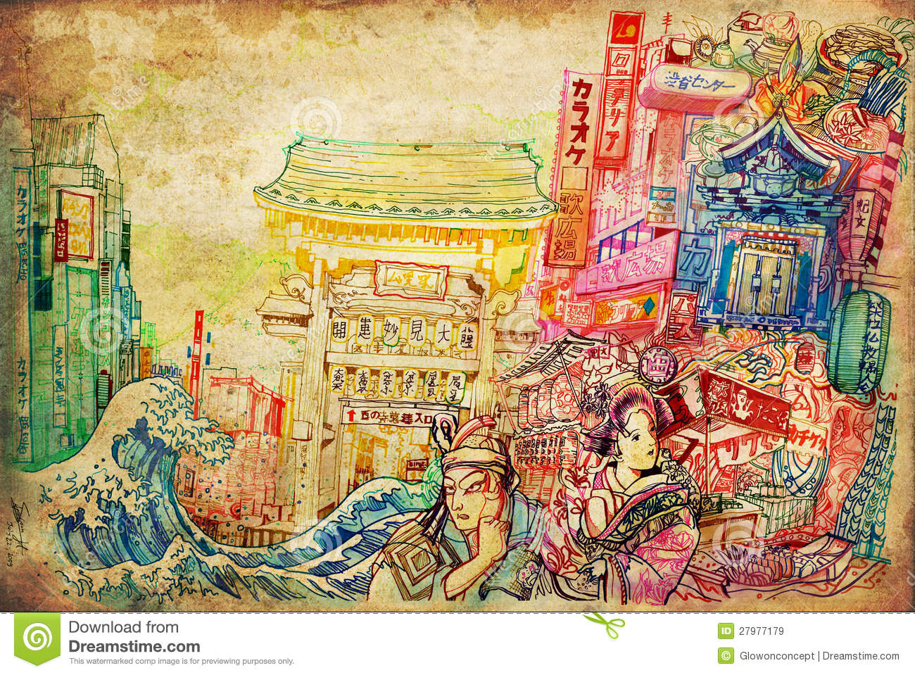 Japan Art And Culture Background Collage Illustration