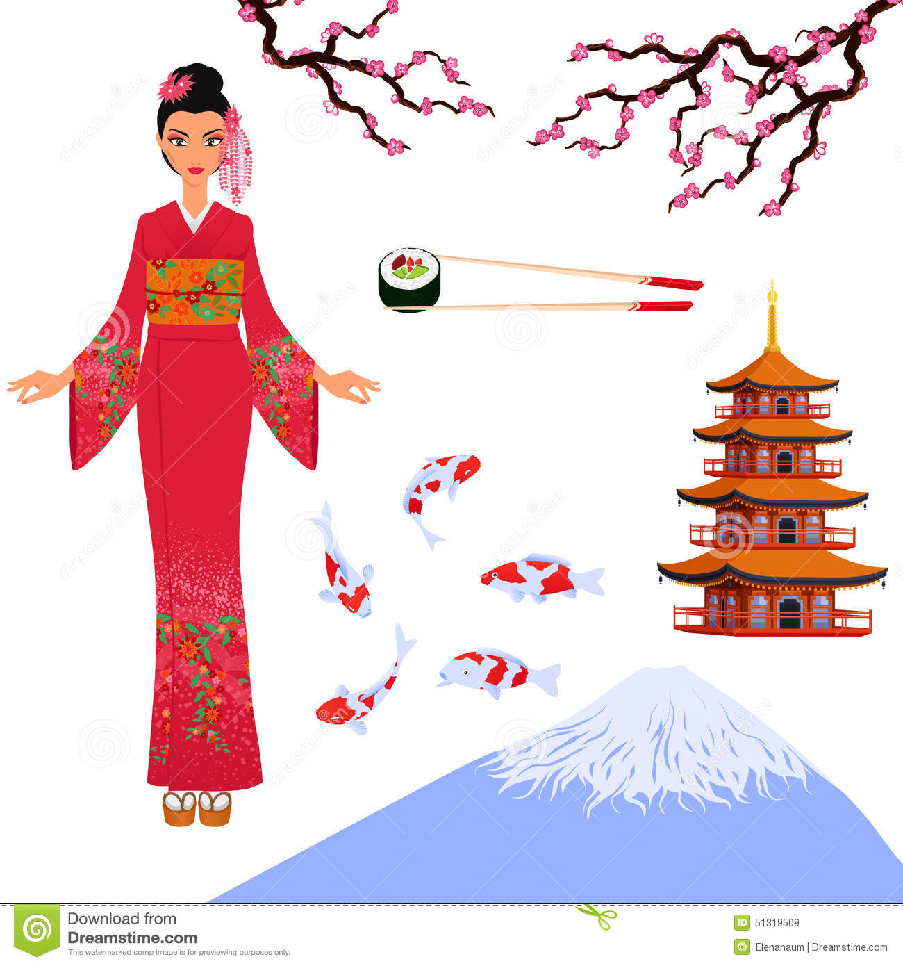 Japan Set From Isolated Elements Of National Japanese