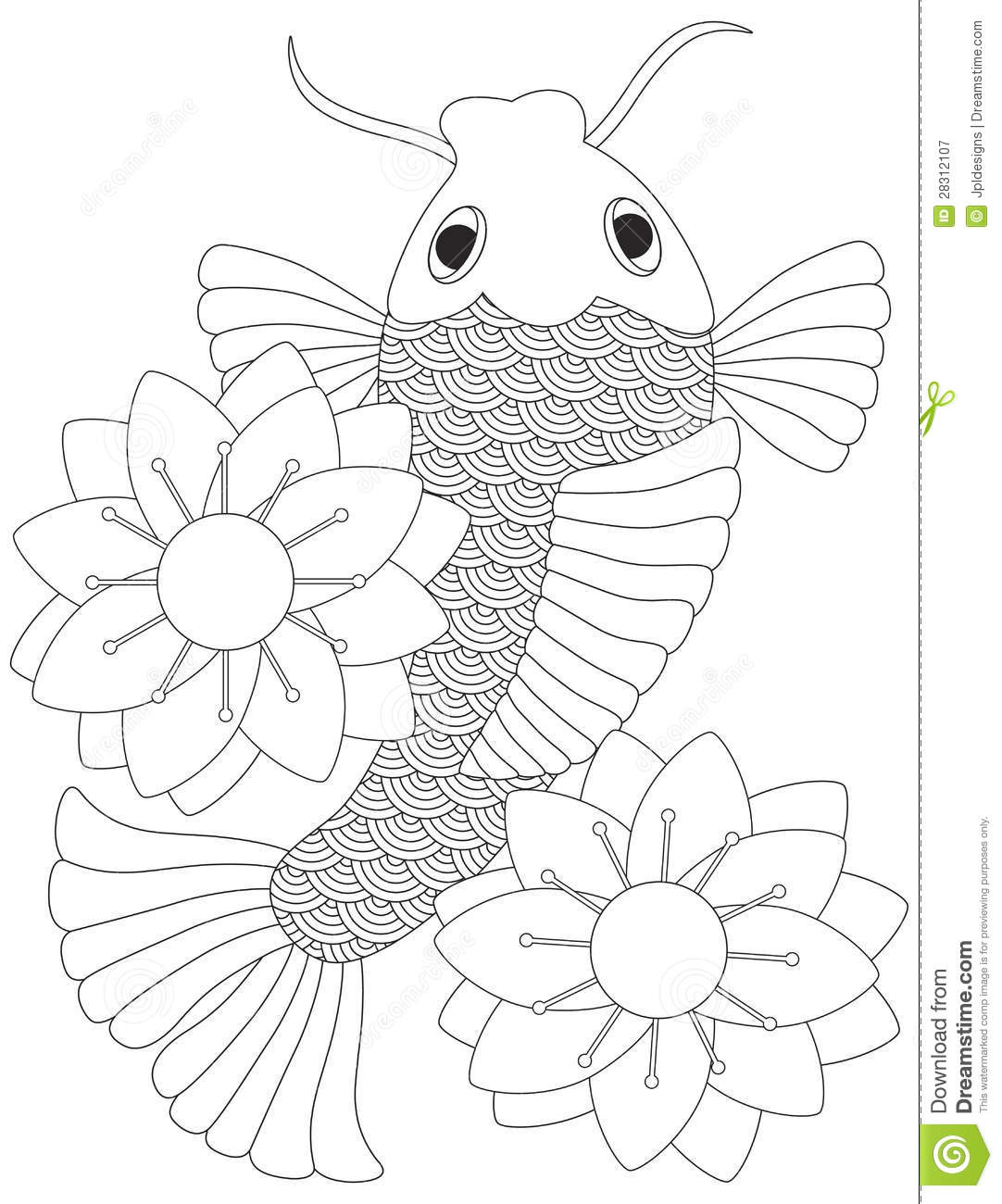 Japanese Or Chinese Koi Fish Line Art Stock Vector