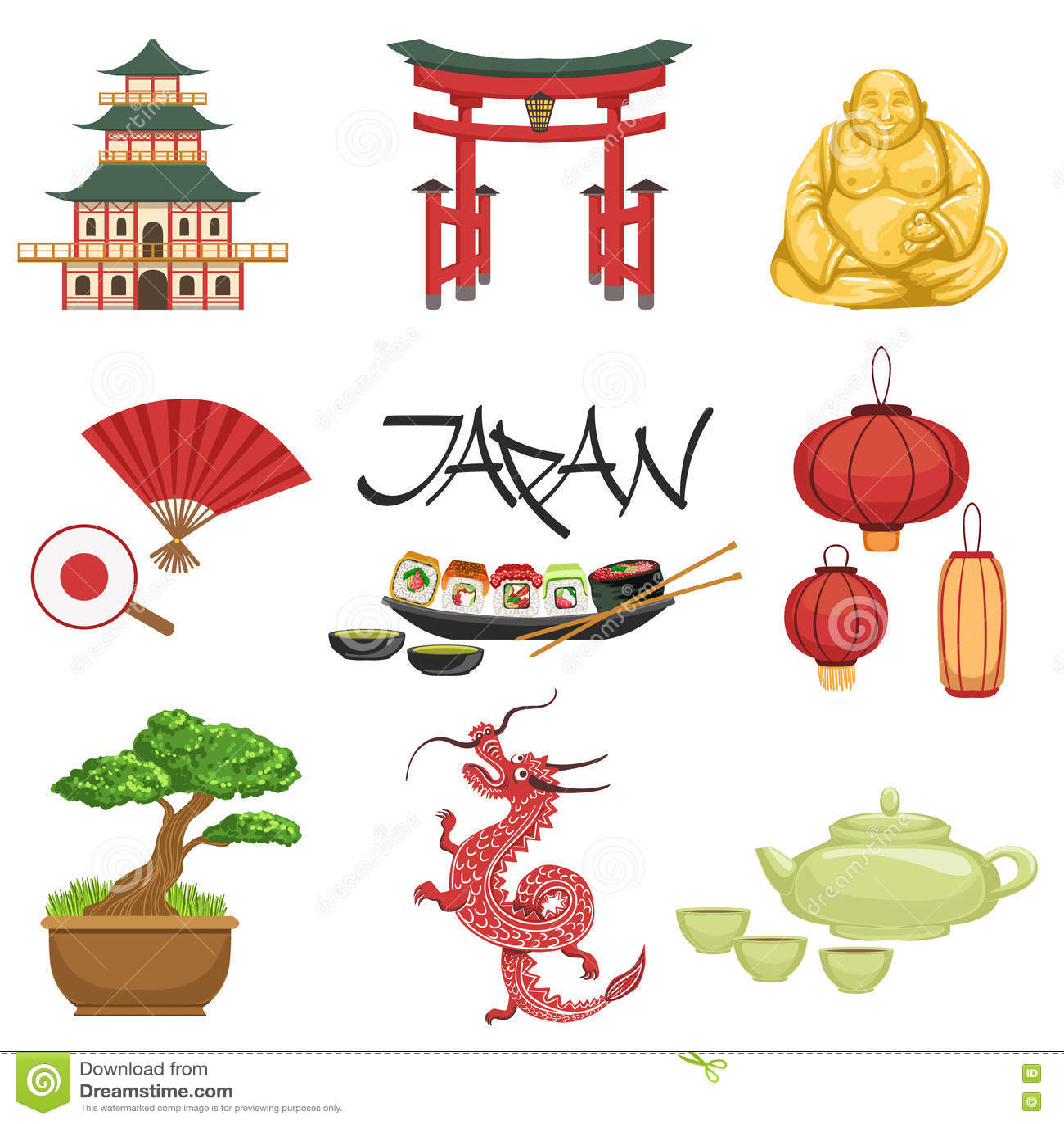 Japanese Culture Symbols Set Stock Vector