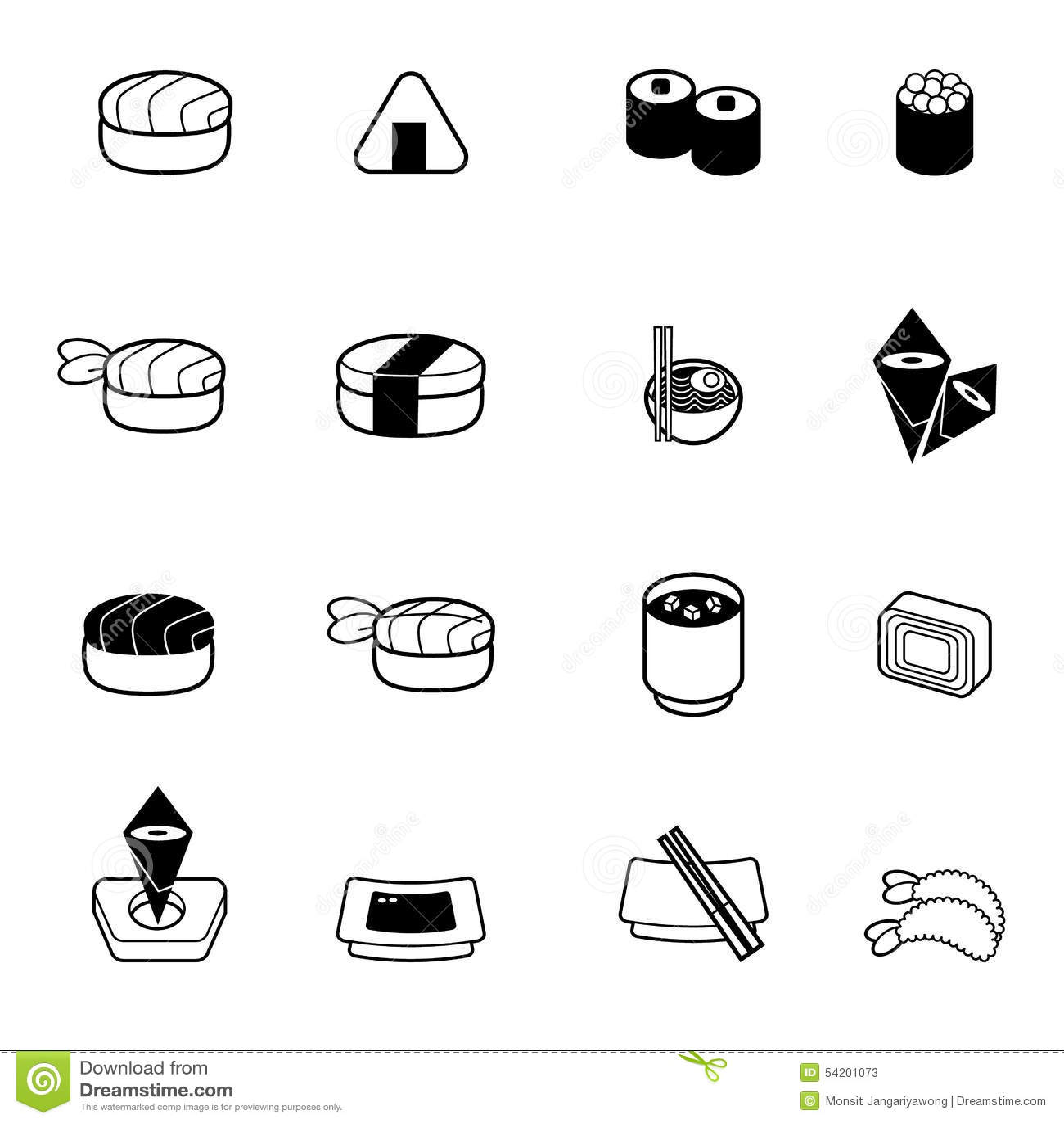 Japanese Food Sushi Icon Set Stock Vector