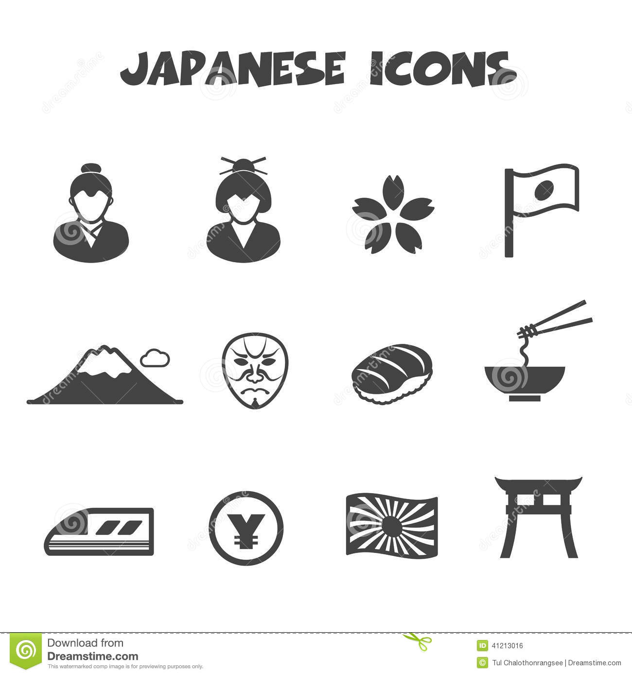 Japanese Icons Stock Vector Illustration Of Culture