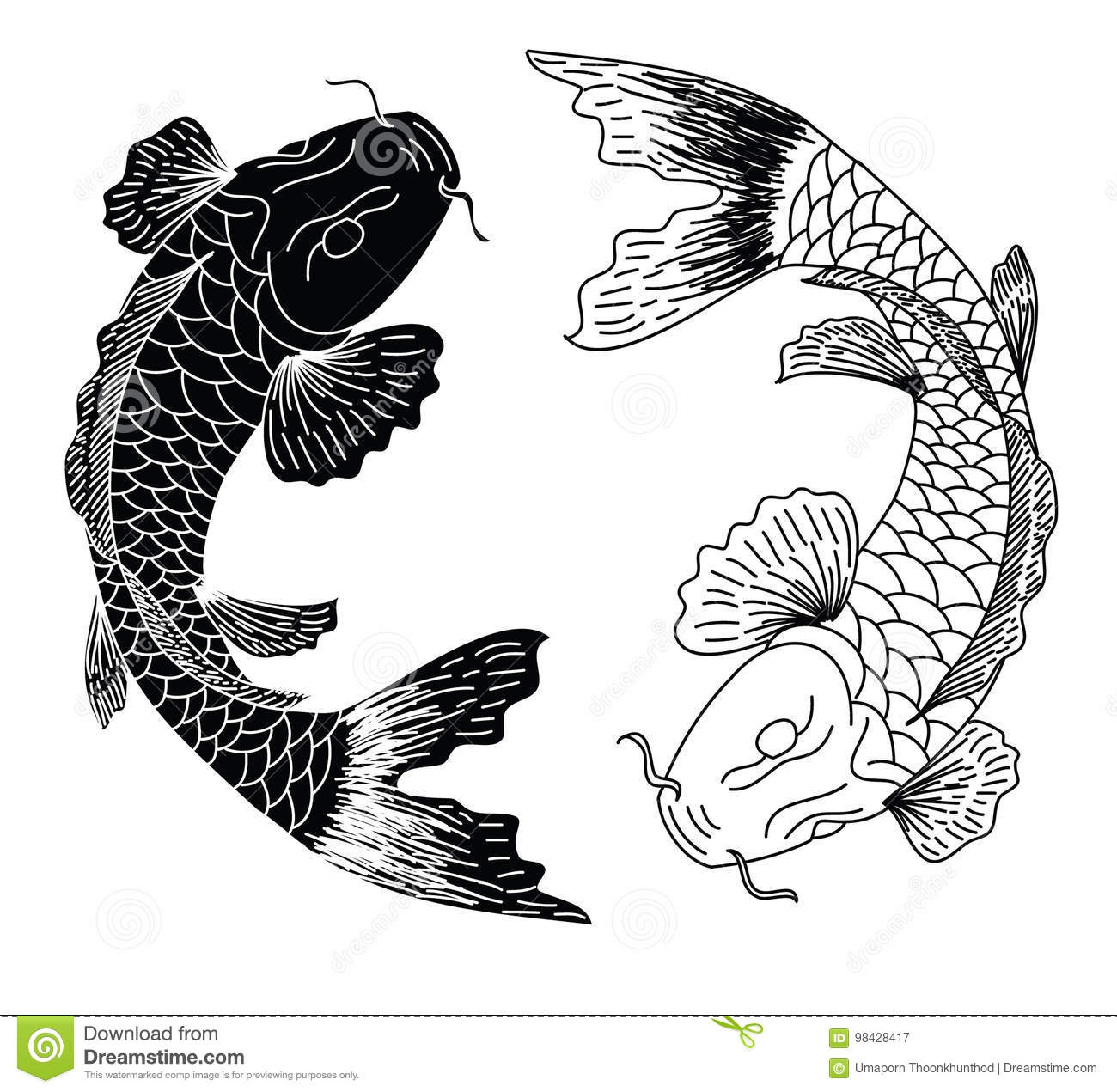 Japanese Koifish Tattoo Design Vector Stock Vector
