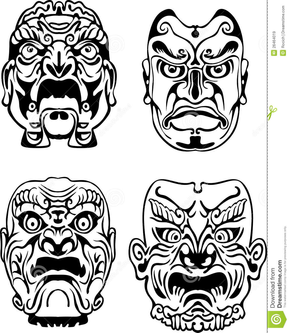 Japanese Noh Theatrical Masks Royalty Free Stock Images