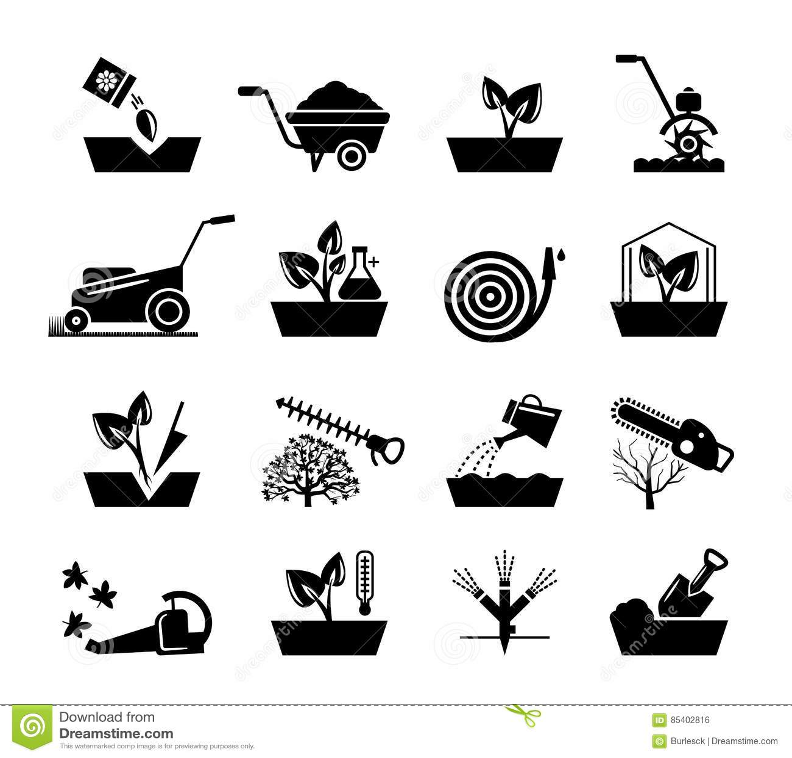 Jardinage Et Icones De Fleurs La Tondeuse A Gazon De Tuyau