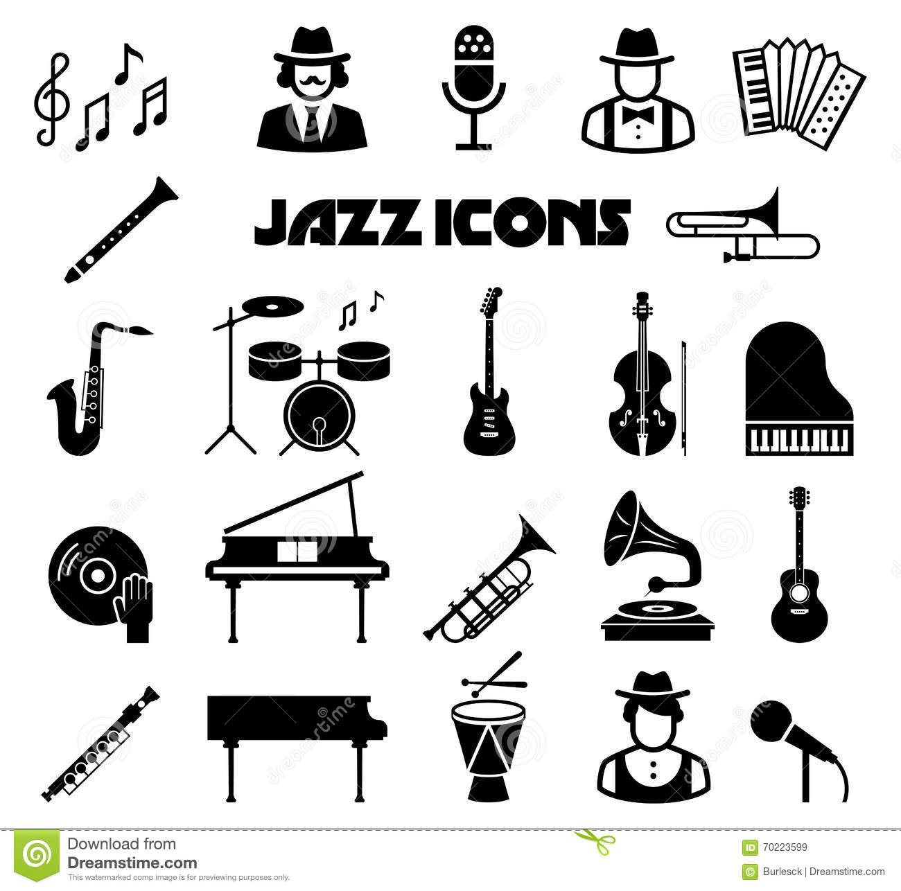 Jazz Vector Icon Set Stock Vector Illustration Of Icon