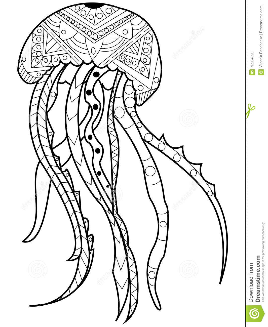 Zentangle Jellyfish Coloring Page Adult Sketch Coloring Page