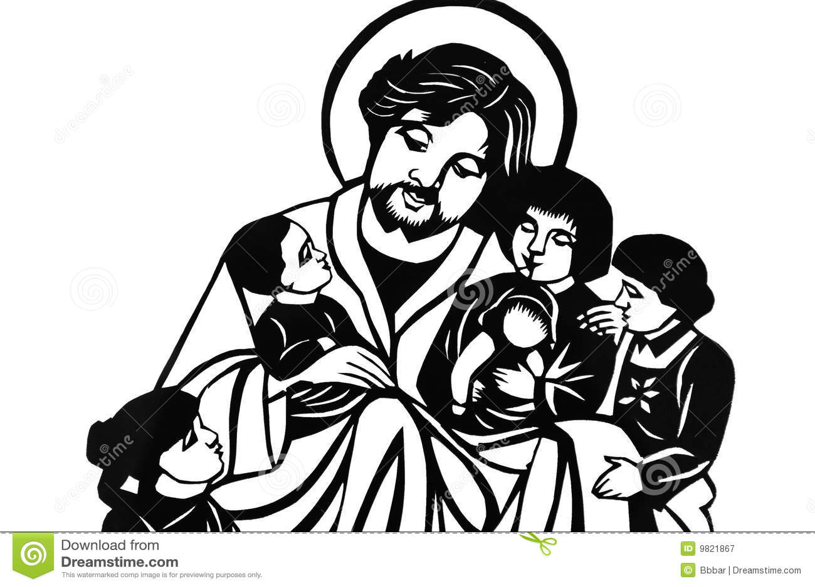 Jesus With Children Stock Illustration Illustration Of
