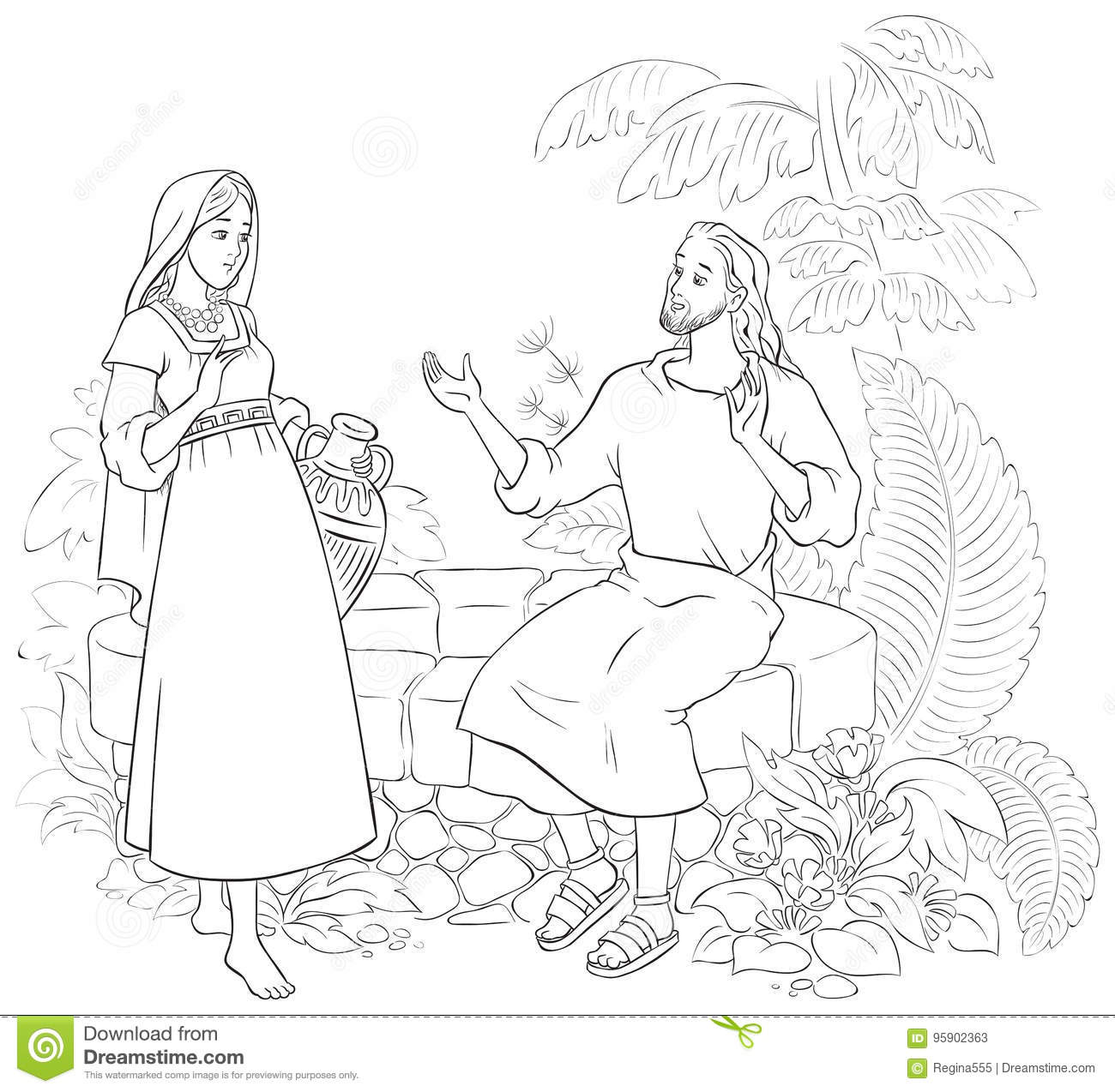 Jesus Talks With Samaritan Woman Coloring Pages