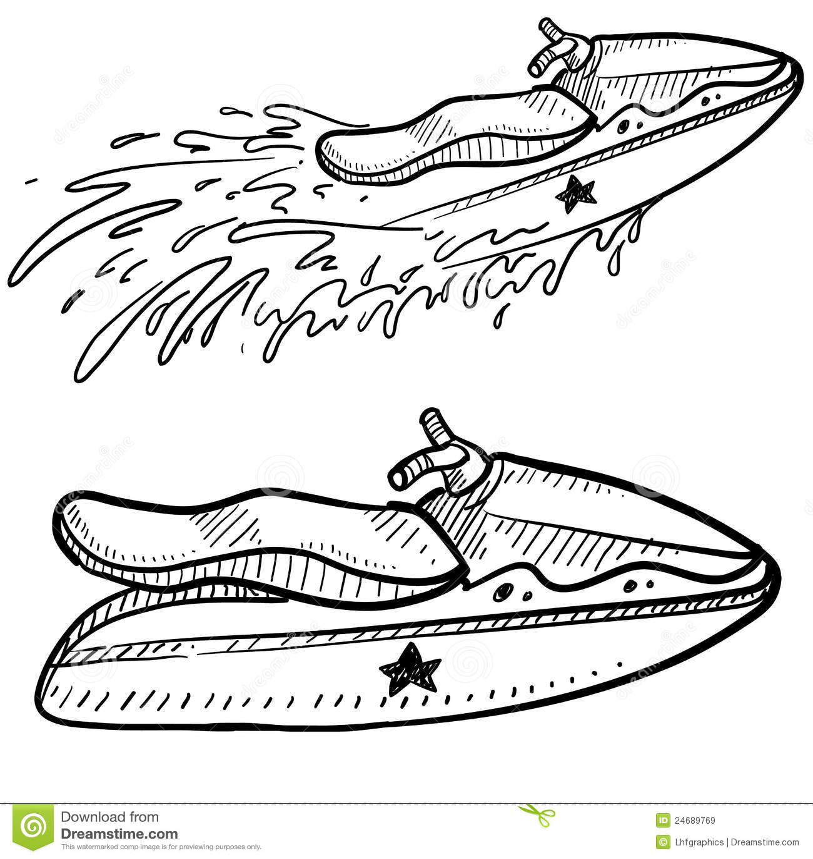Jet Ski Vector Sketch Royalty Free Stock Images