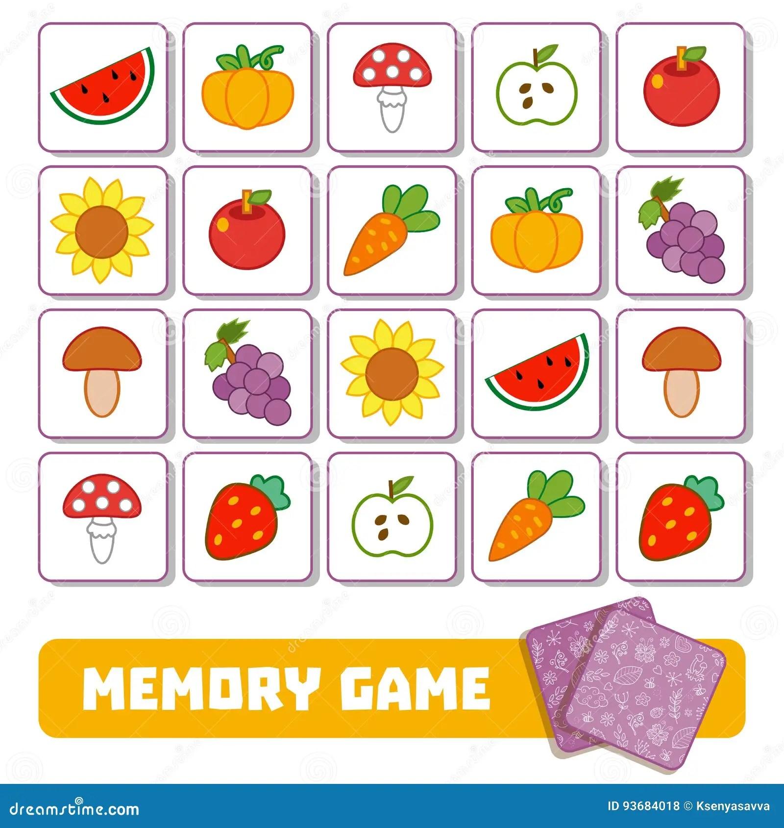 Jeu De Memoire Pour Les Enfants Cartes Avec Des Fruits Et