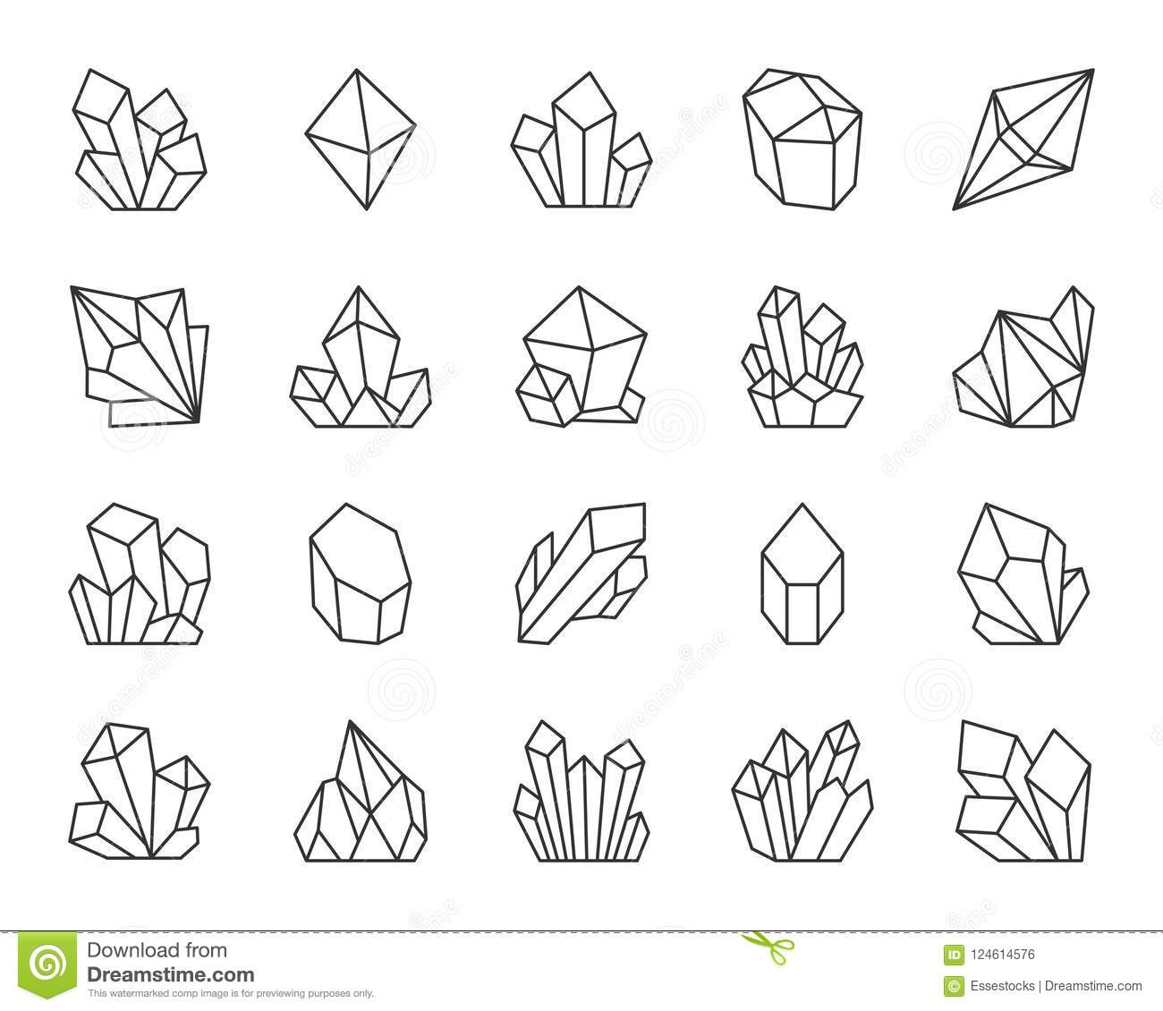 Crystal Simple Black Line Icons Vector Set Stock Vector