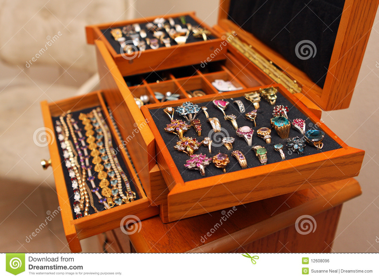 Jewelry Box With Rings And Bracelets Royalty Free Stock
