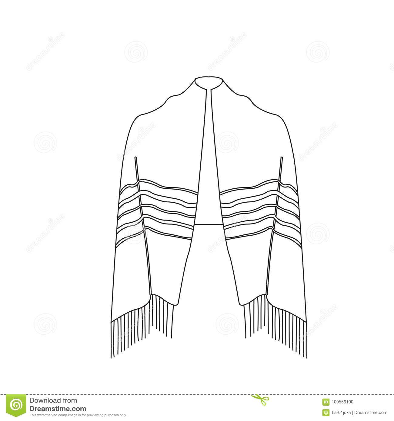 Jewish Tallit Icon Vector Illustration
