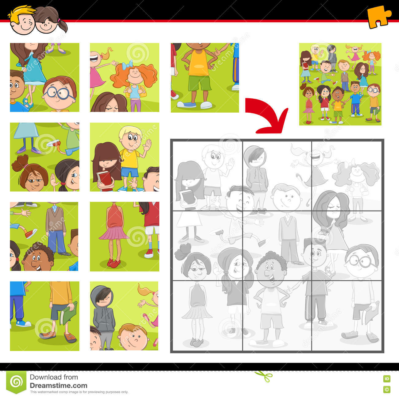 Jigsaw Puzzle Activity With Kids Stock Vector