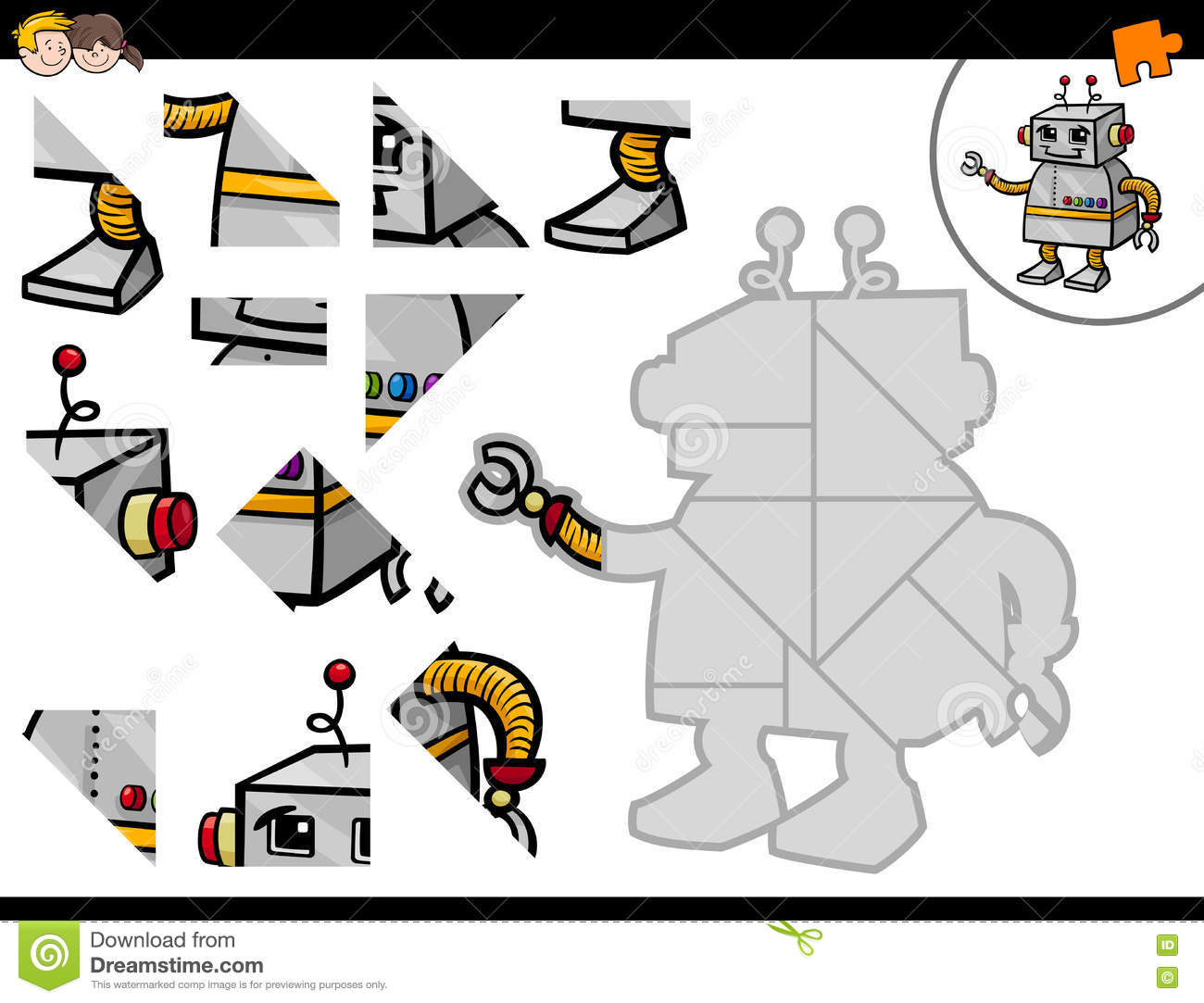 Jigsaw Puzzle Activity With Robot Stock Vector