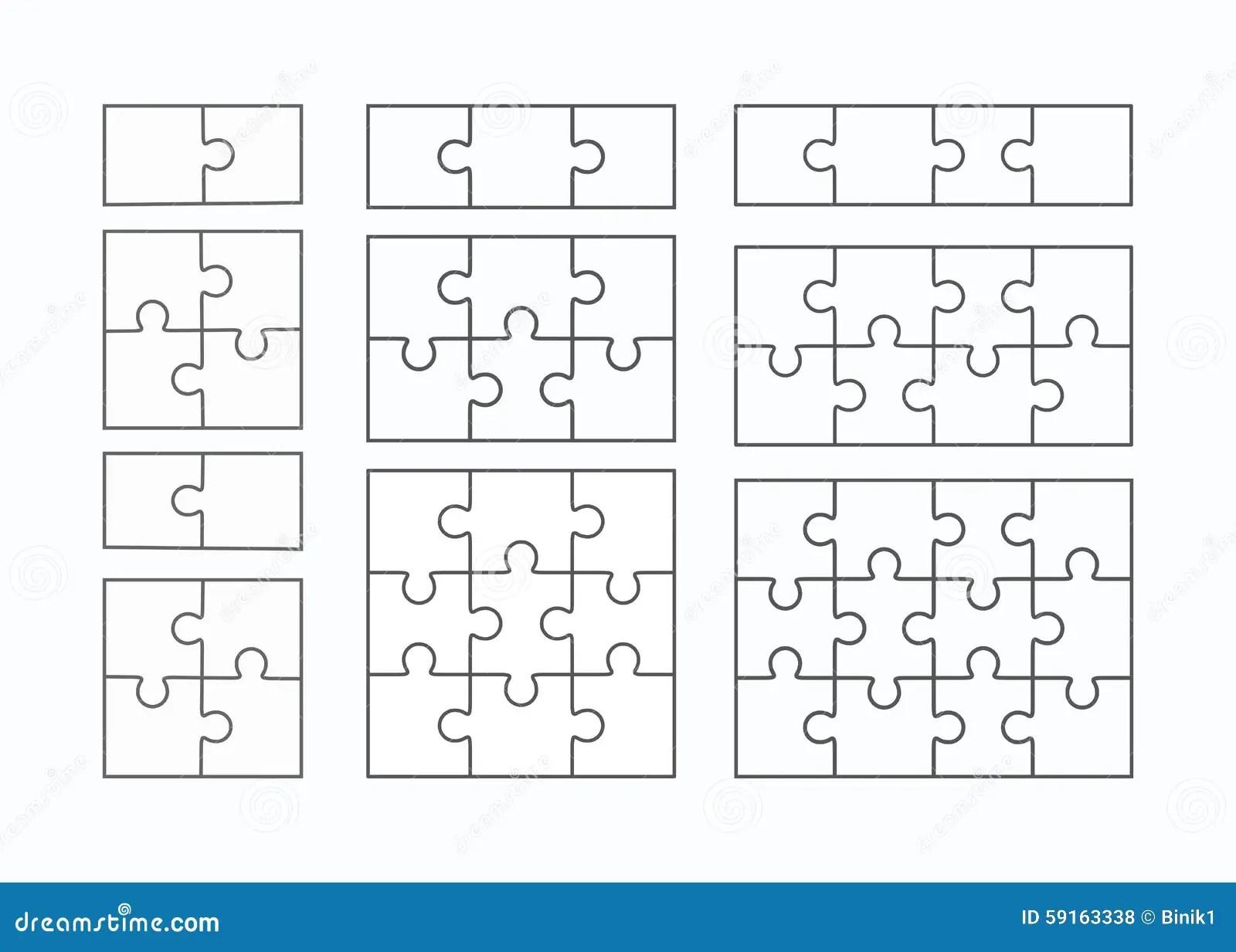Jigsaw Puzzle Flat Blank Templates Set Stock Illustration
