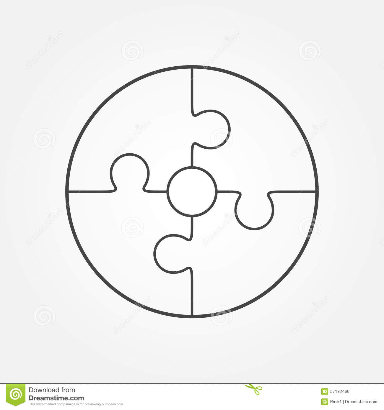 Jigsaw Puzzle In The Form Of Circle Stock Illustration