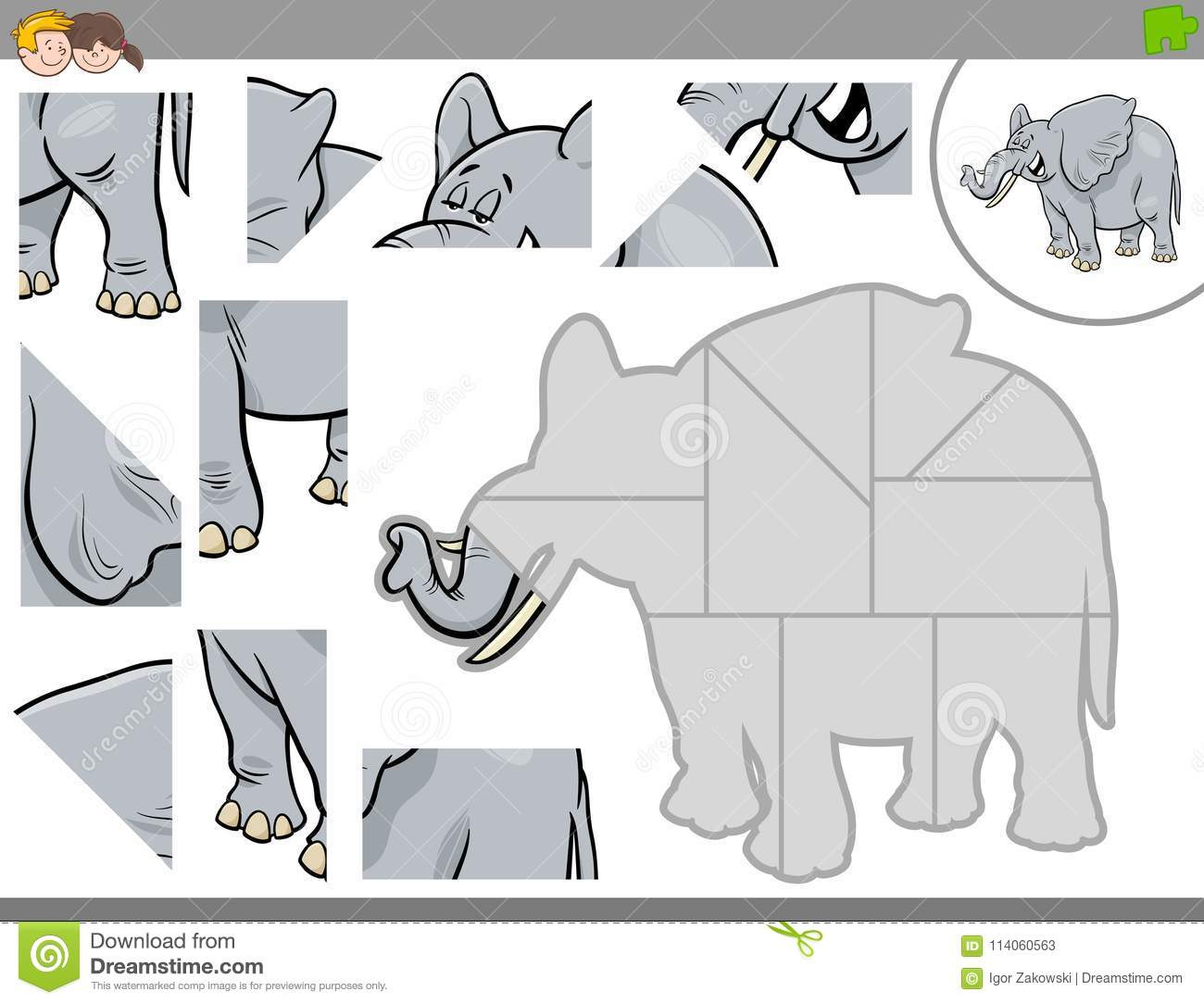 Jigsaw Puzzle Game With Elephant Animal Stock Vector