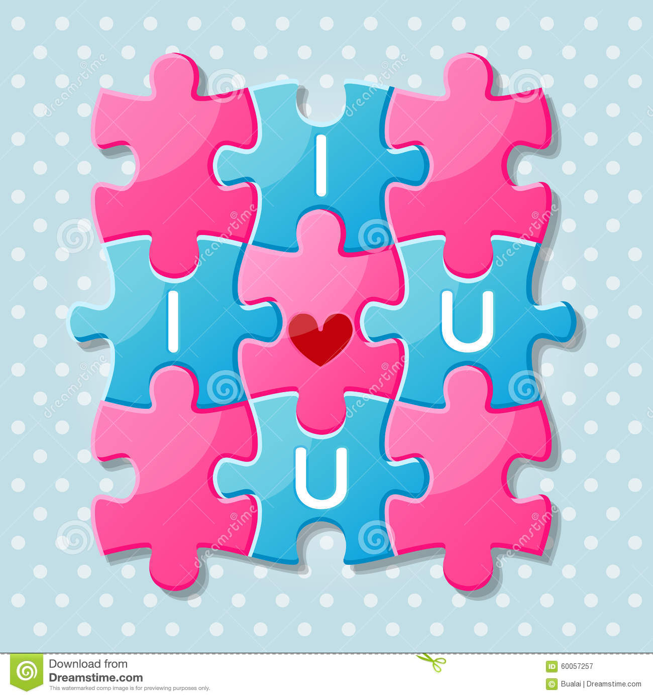 Jigsaw Puzzle Pieces With Words I Love You Stock Vector