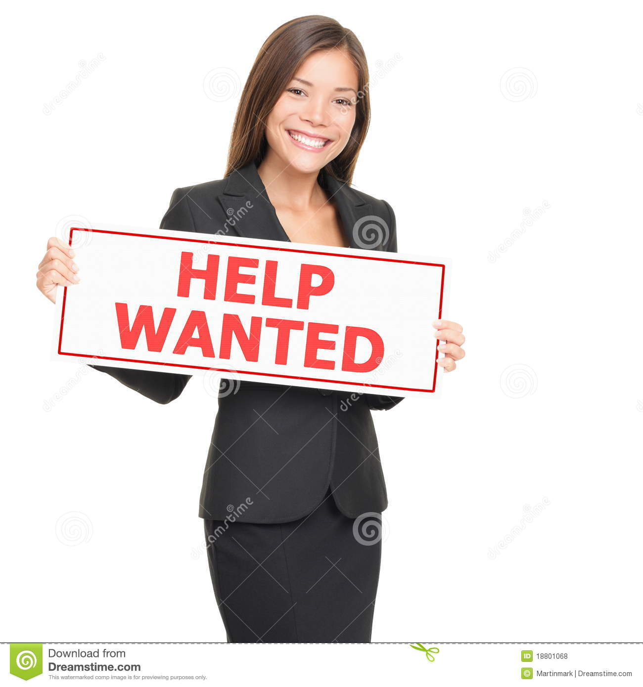 Job Woman Hiring Holding Help Wanted Blank Sign Stock