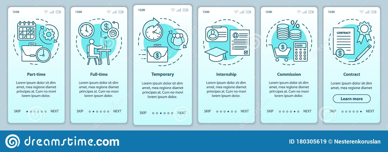 Download excel and google sheets template, pdf, png, and ensure that you are ready to welcome a new. Jobs Types Turquoise Onboarding Mobile App Page Screen Vector Template Part Time Temporary Internship Walkthrough Stock Vector Illustration Of Page Full 180305619