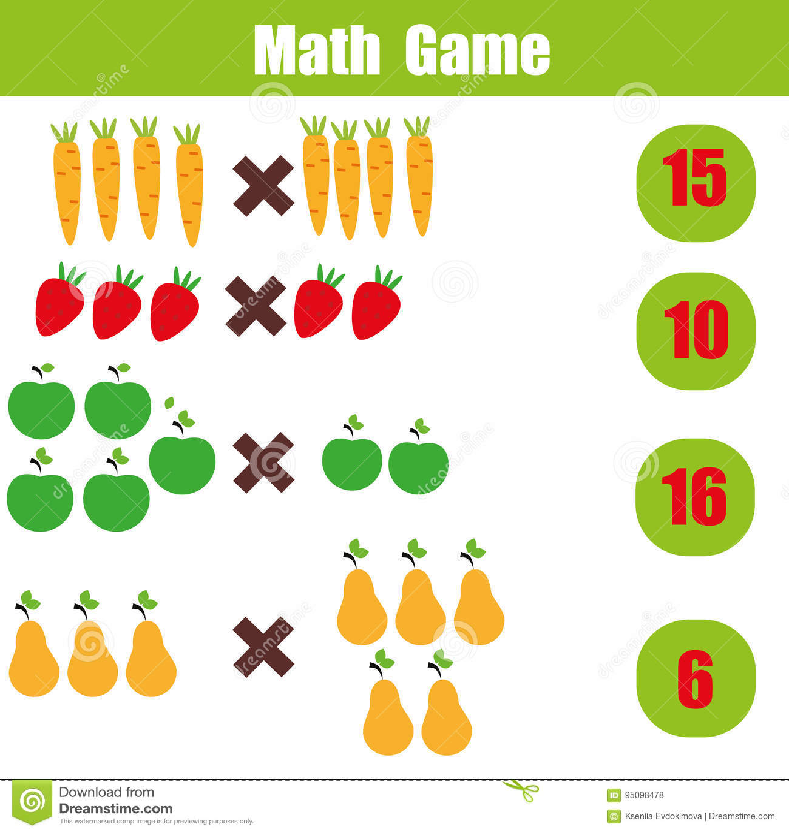 Jogo Educacional Para Criancas Folha Da Matematica Da Matematica Da Multiplicacao Ilustracao Do