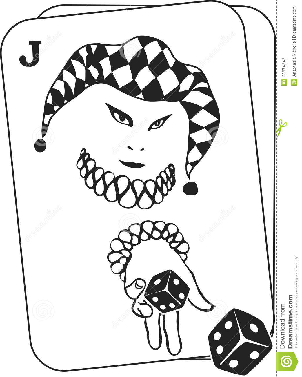 Joker Throwing Dice From Inside A Playing Card Stock