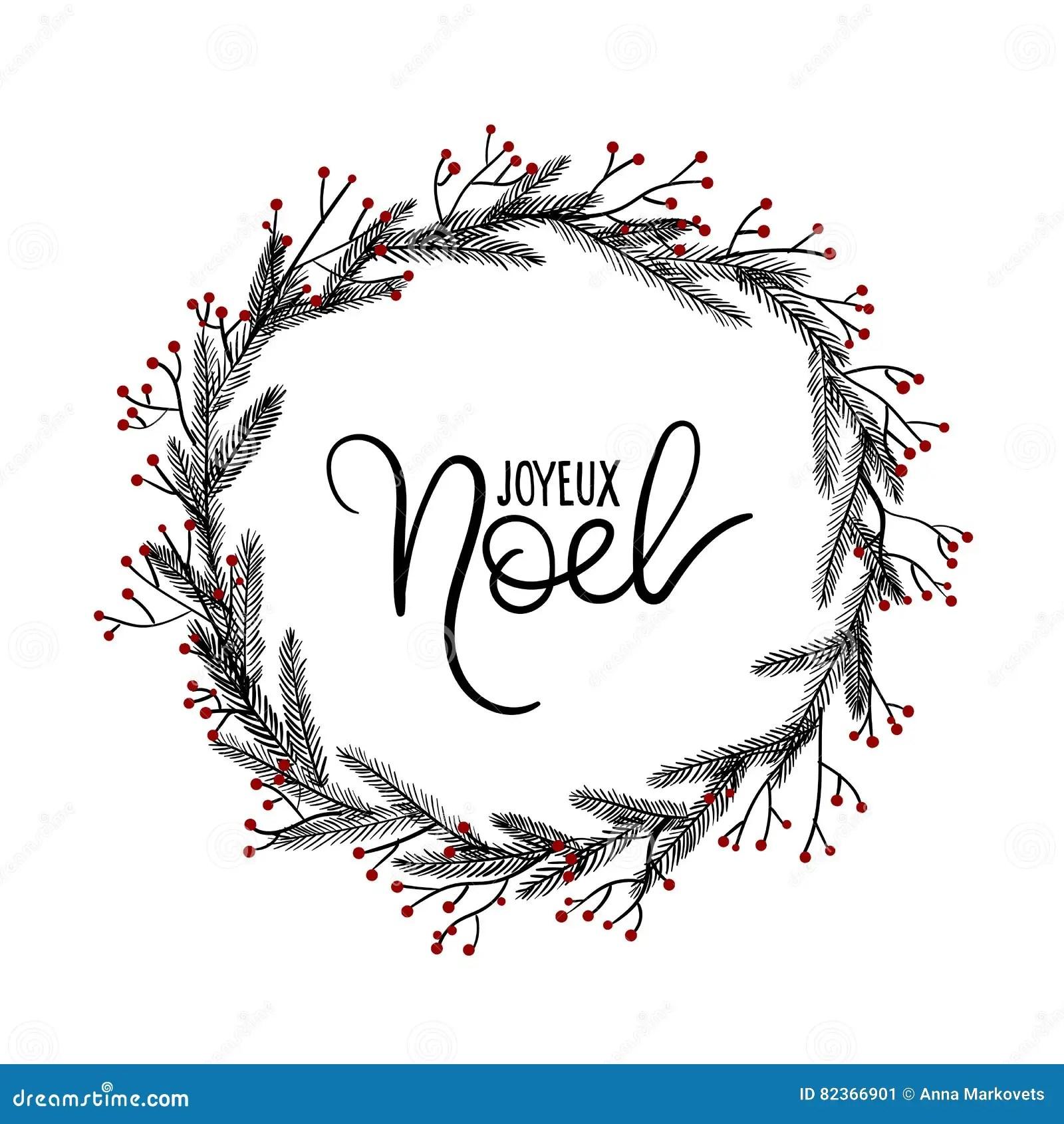 Joyeux Noel Hand Lettering Greeting Card Christmas Wreath