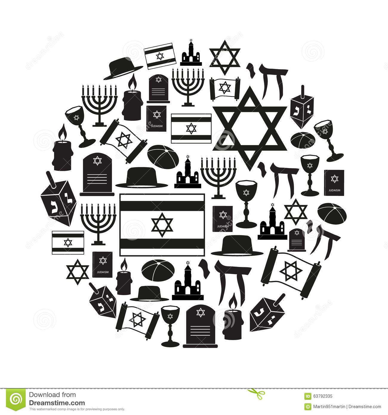 Judaism Religion Symbols Vector Set Of Icons In Circle