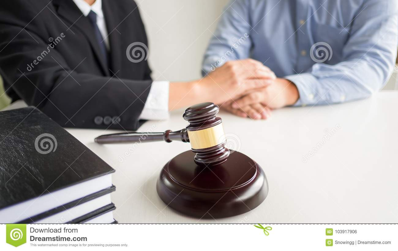 Judge Gavel With Lawyers Advice Legal At Law Firm In