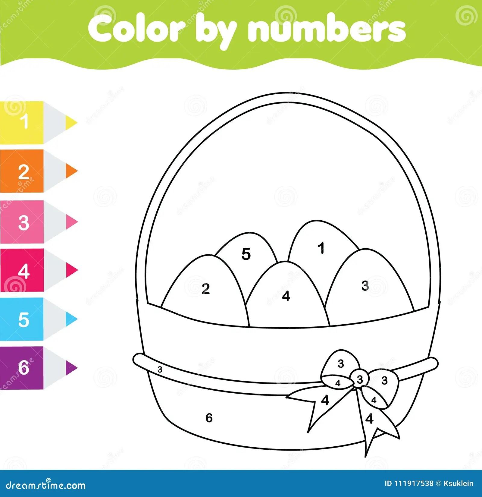 Juego Del Dibujo De Pascua Color Por Numeros Hoja De