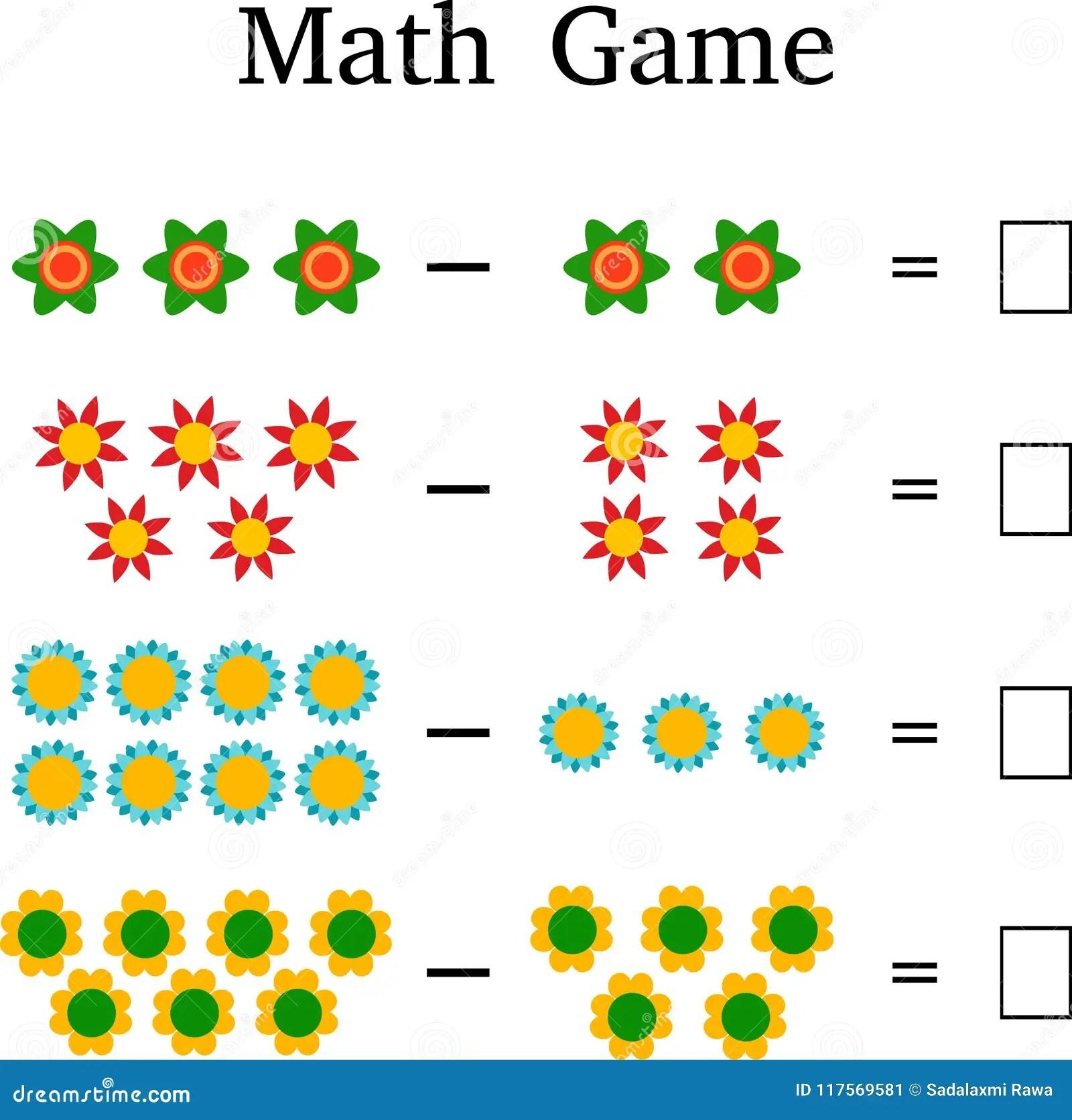 Juego Educativo De Las Matematicas Para Los Ninos Imagen De Archivo