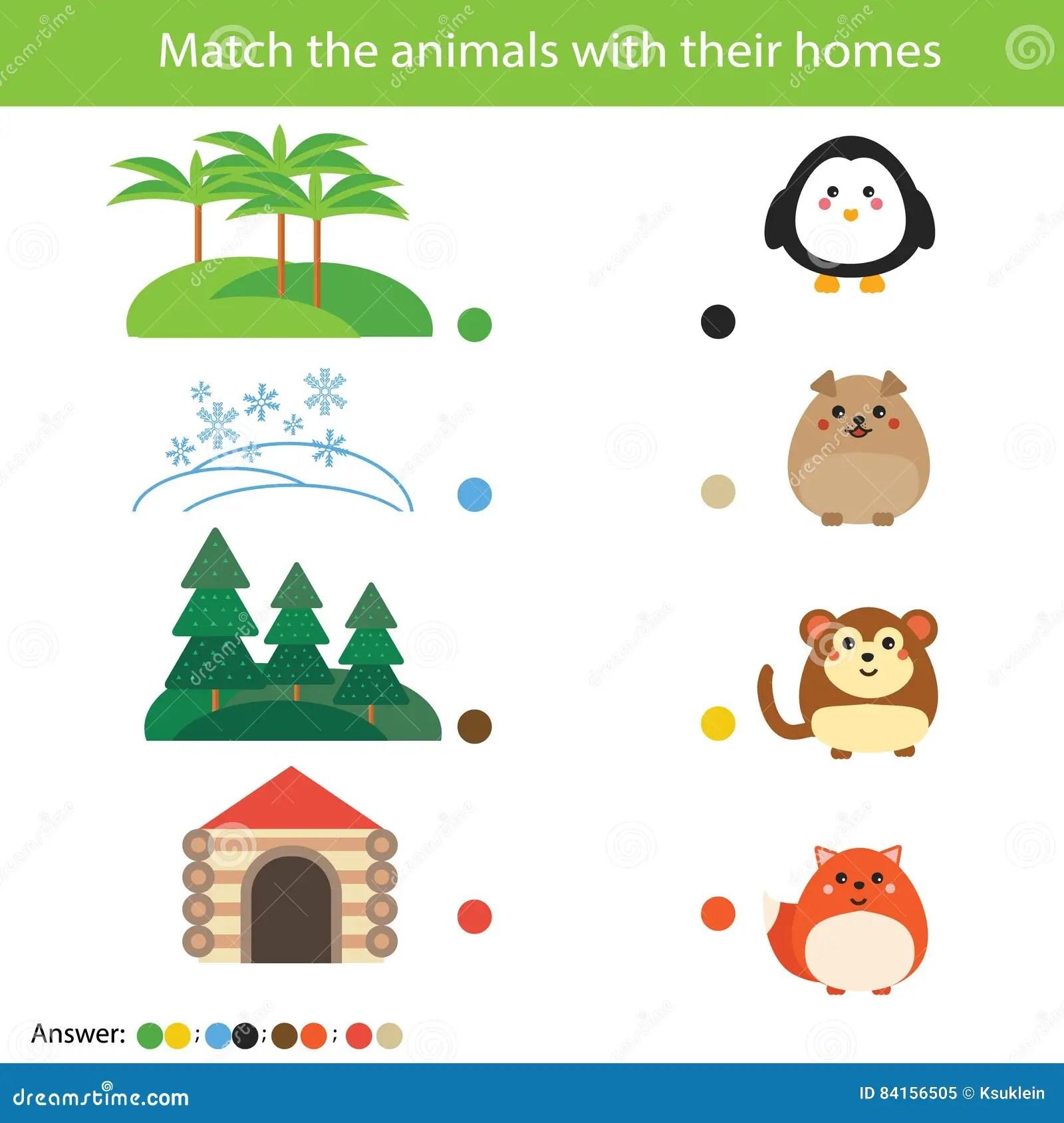 Juego A Juego De La Educacion De Los Ninos Animales Del