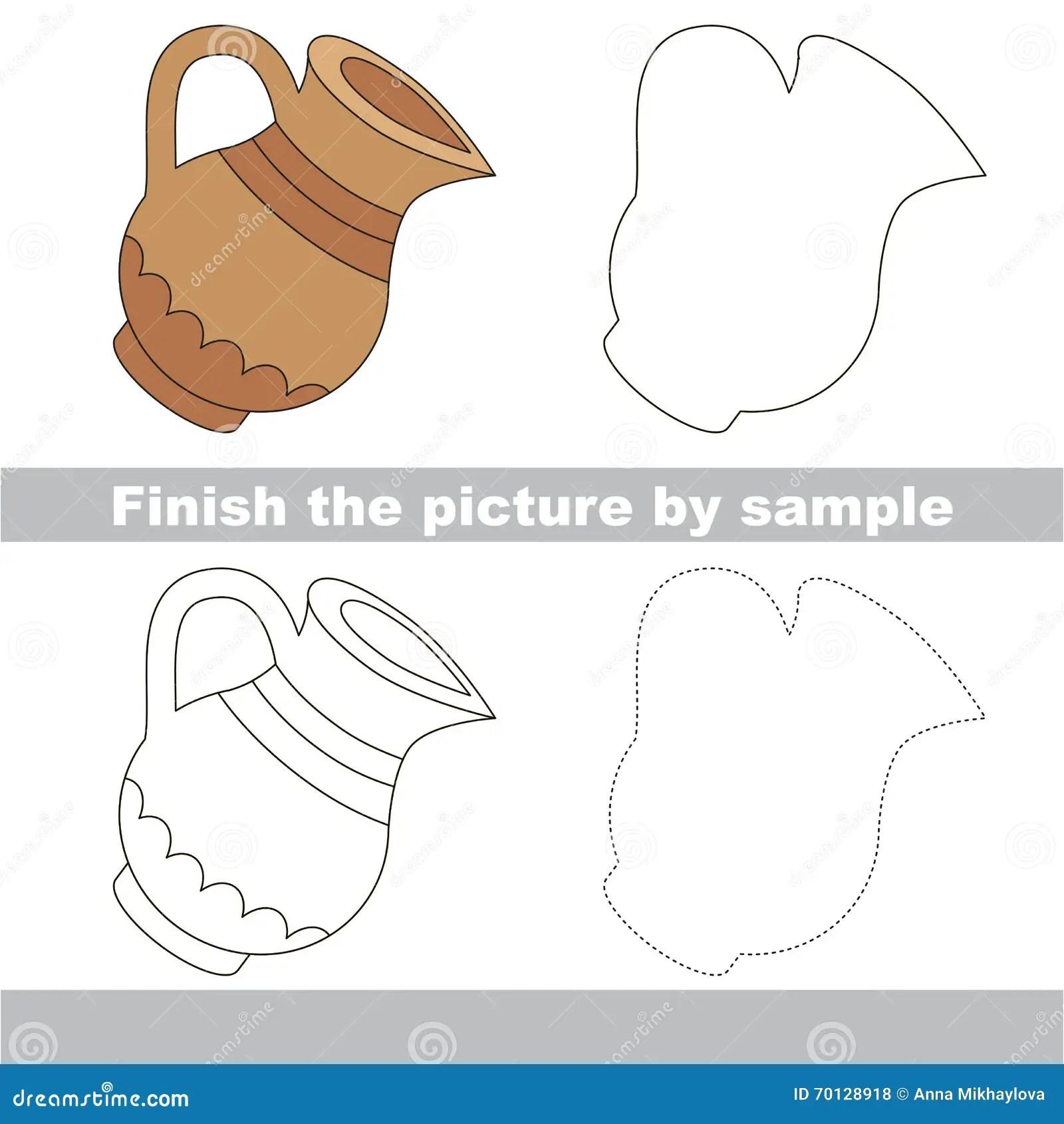 Jug Drawing Worksheet Stock Vector Illustration Of
