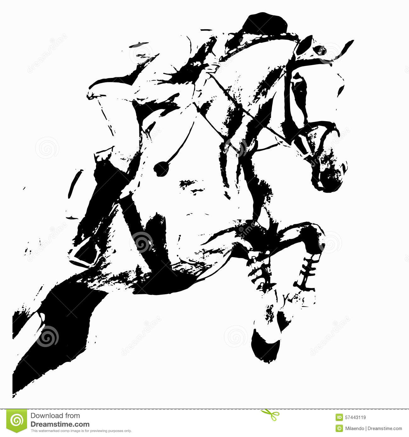 Jumping Rider And Horse Stock Vector