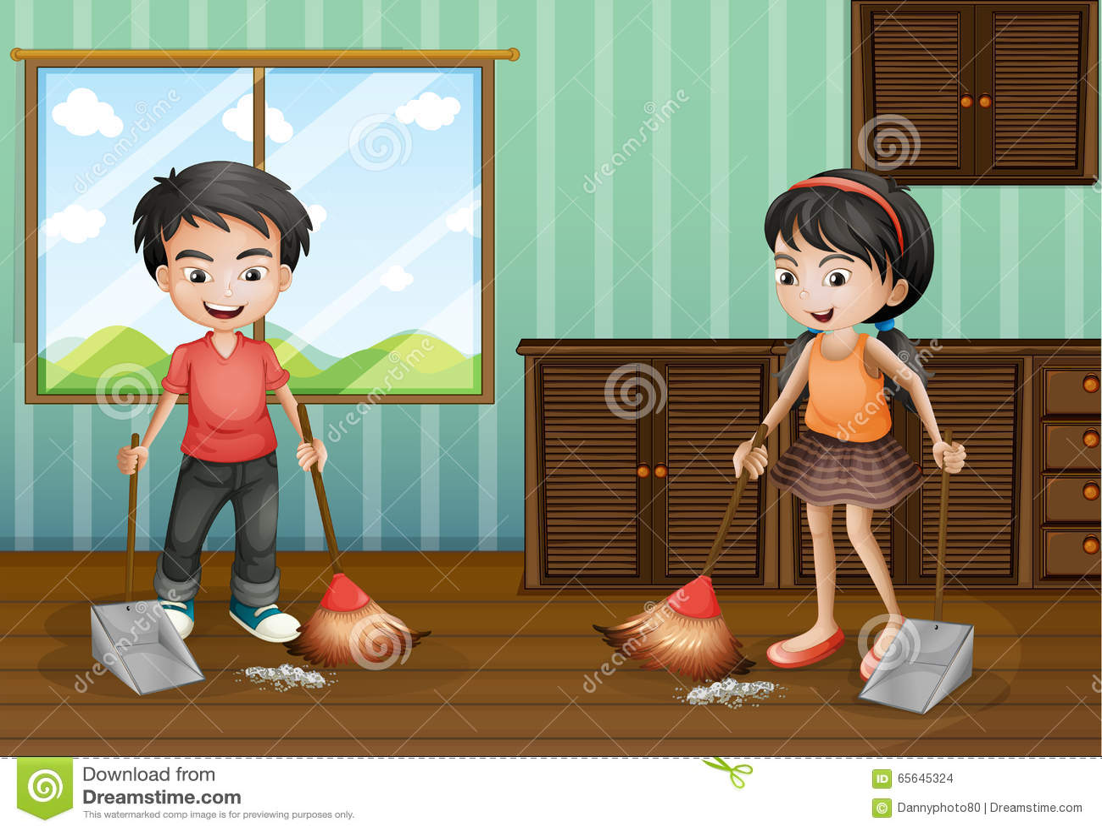 Junge Und Madchen Den Boden Fegen Vektor Abbildung