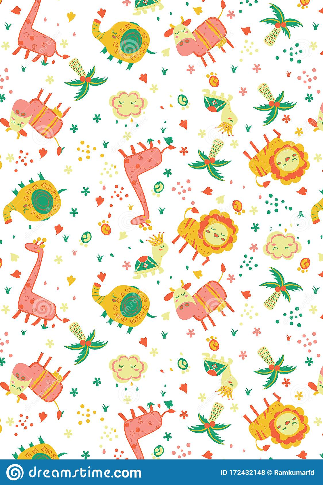 Jungle Animals Tribal Ethnic Repeated Seamless Pattern For