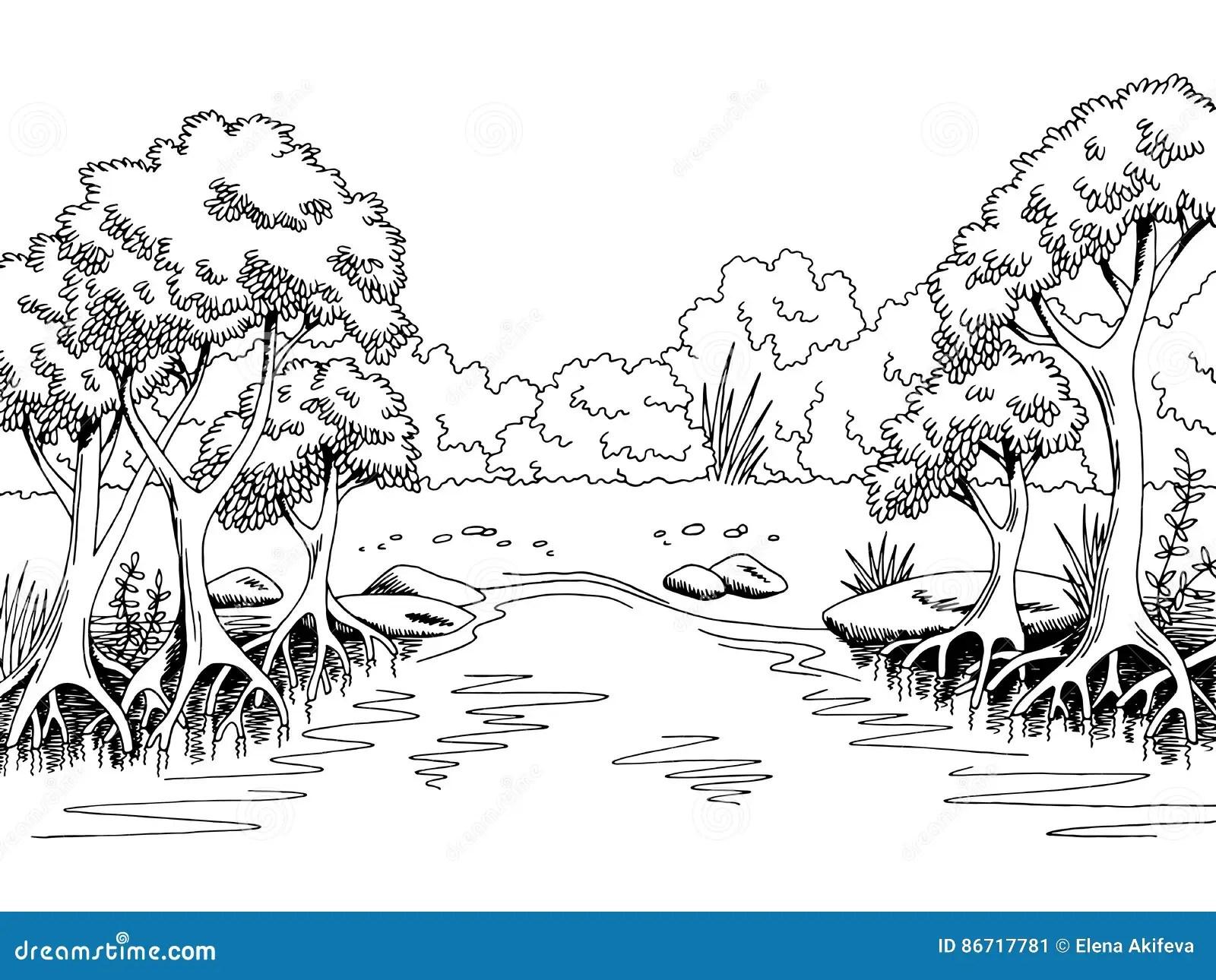 Jungle Forest River Graphic Black White Landscape Sketch