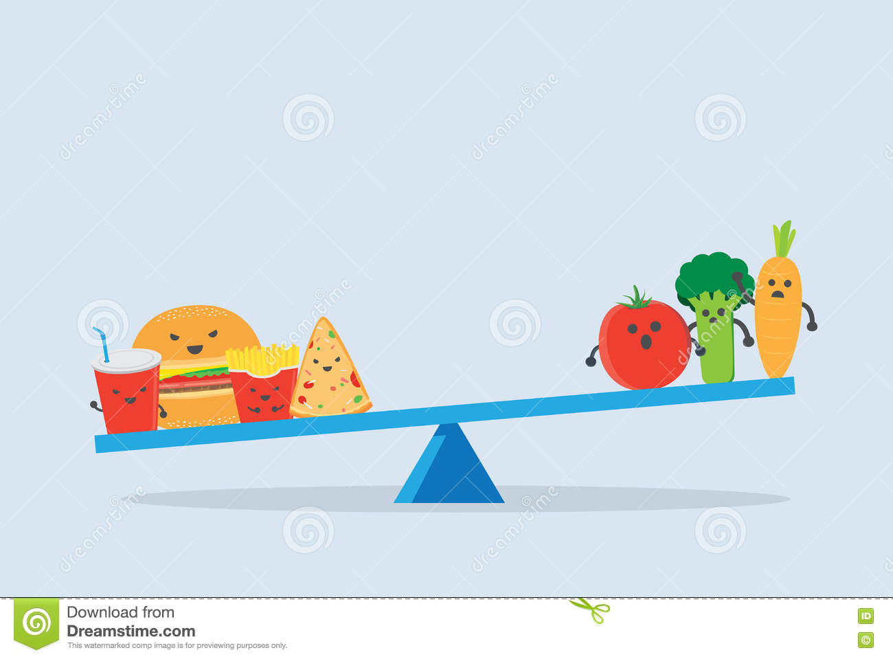 Junk Food Heavier Than Vegetable On Balance Scales Stock