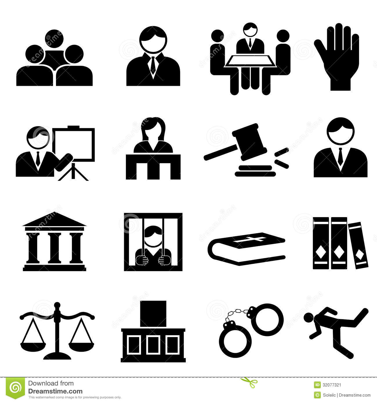 Justice And Legal Icons Stock Image