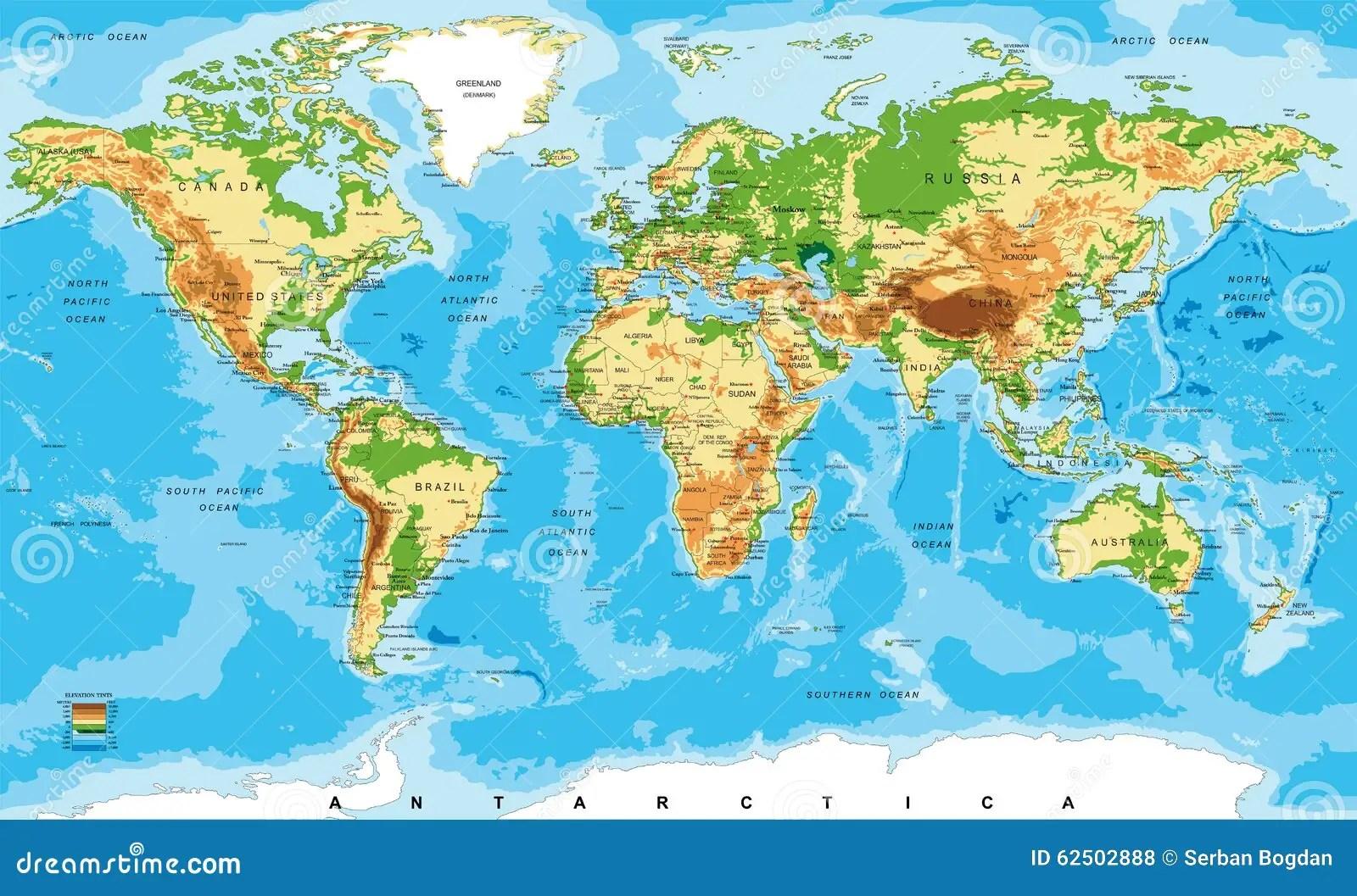 Korperliche Karte Der Welt Vektor Abbildung Illustration