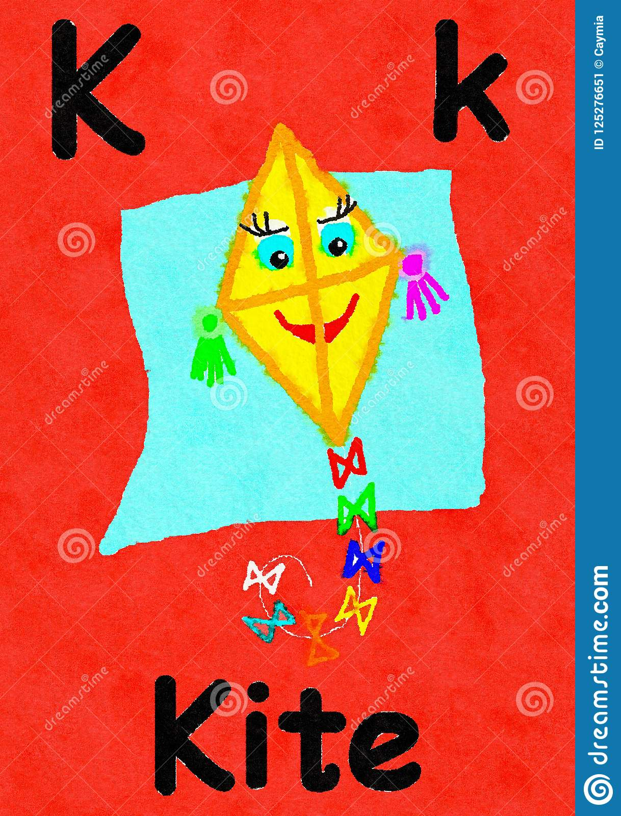 K Is For Kite Learn The Alphabet And Spelling Stock